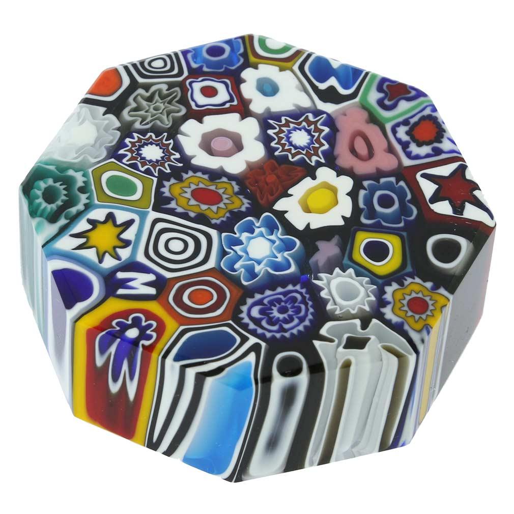 Murano Glass Millefiori Octagonal Paperweight - Medium