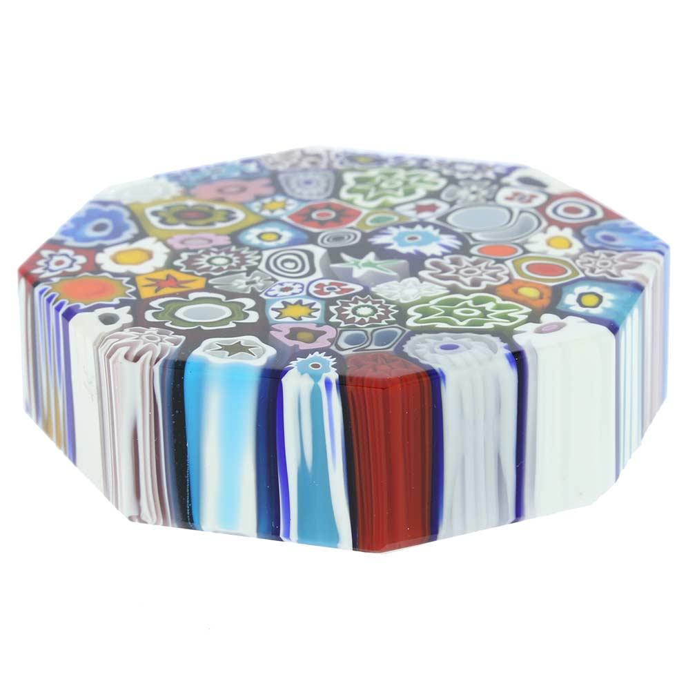 Murano Millefiori Octagon Paperweight - Large