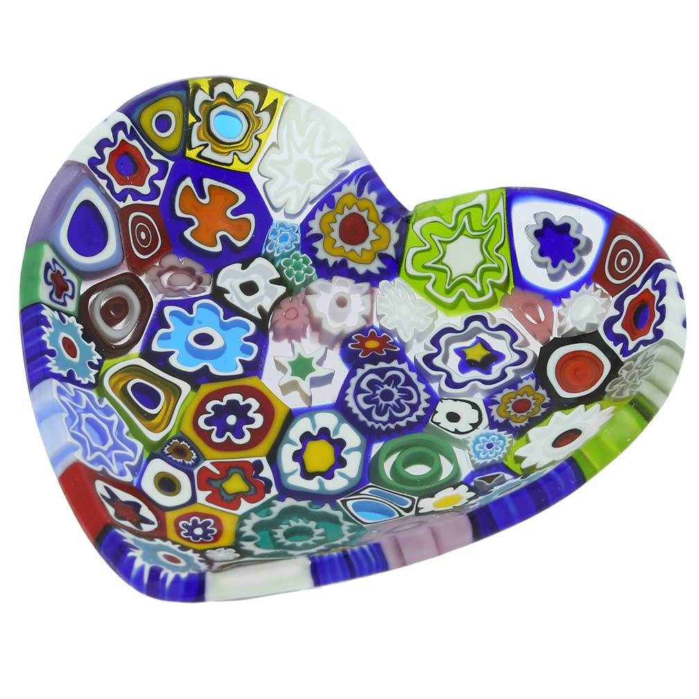 Murano Millefiori Heart Plate - Multicolor