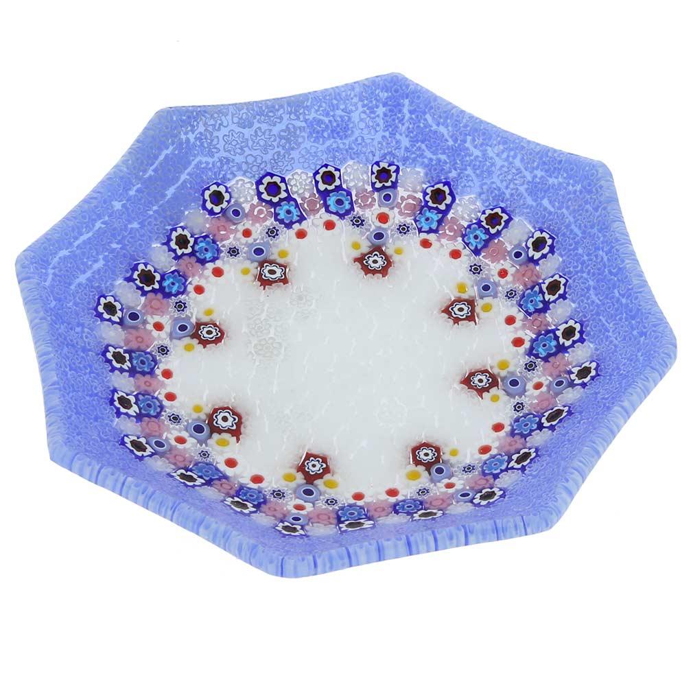 Murano Millefiori Octagonal Plate - Periwinkle