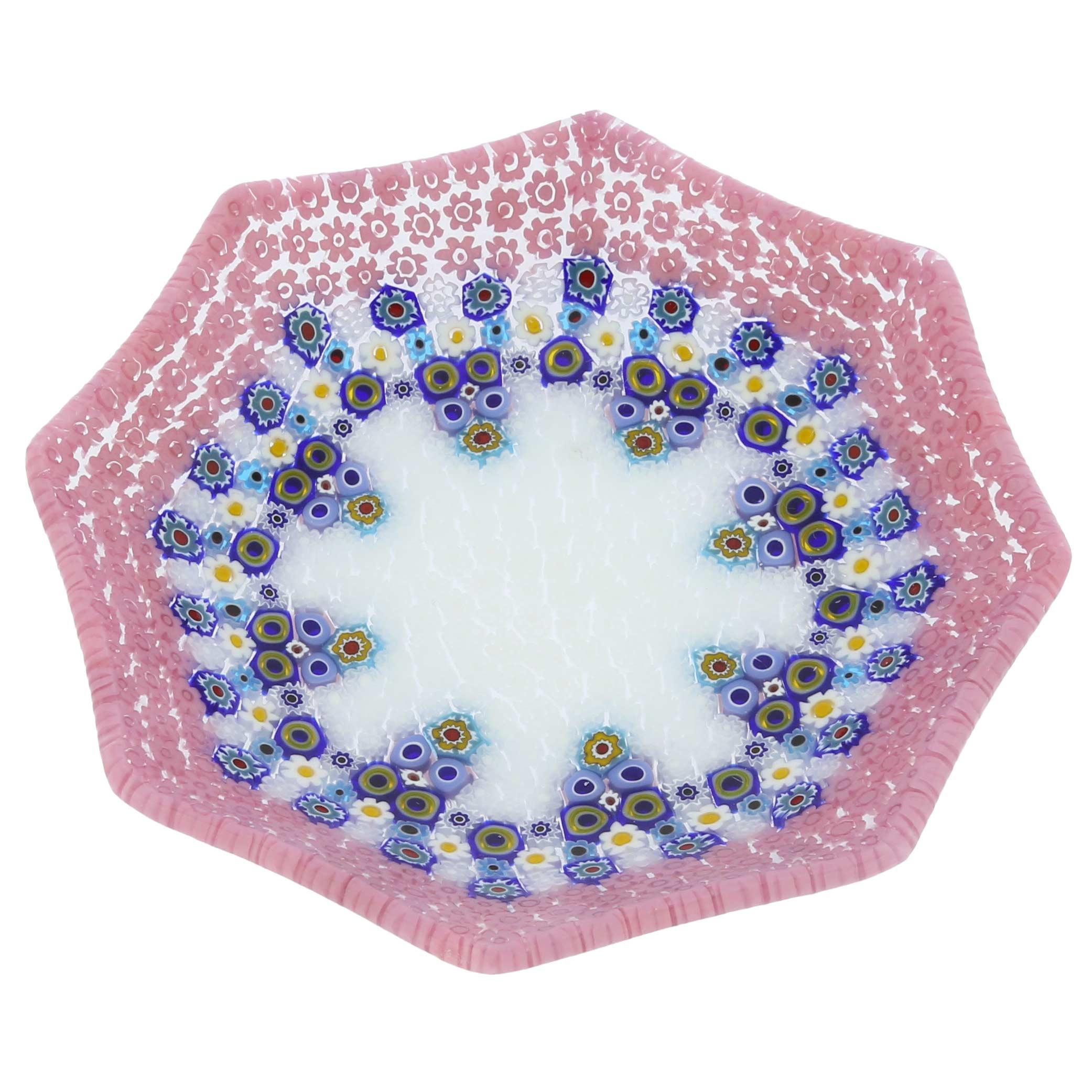 Murano Millefiori Octagonal Plate - Pink