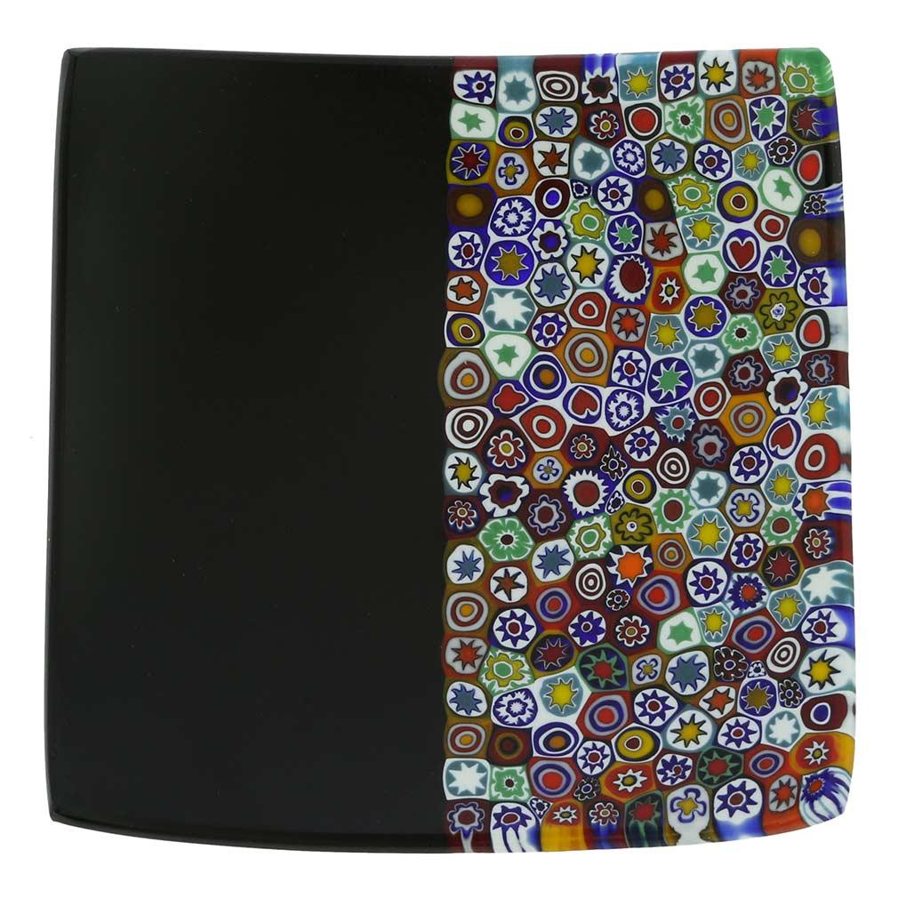 Murano Millefiori Square Plate - Multicolor Black
