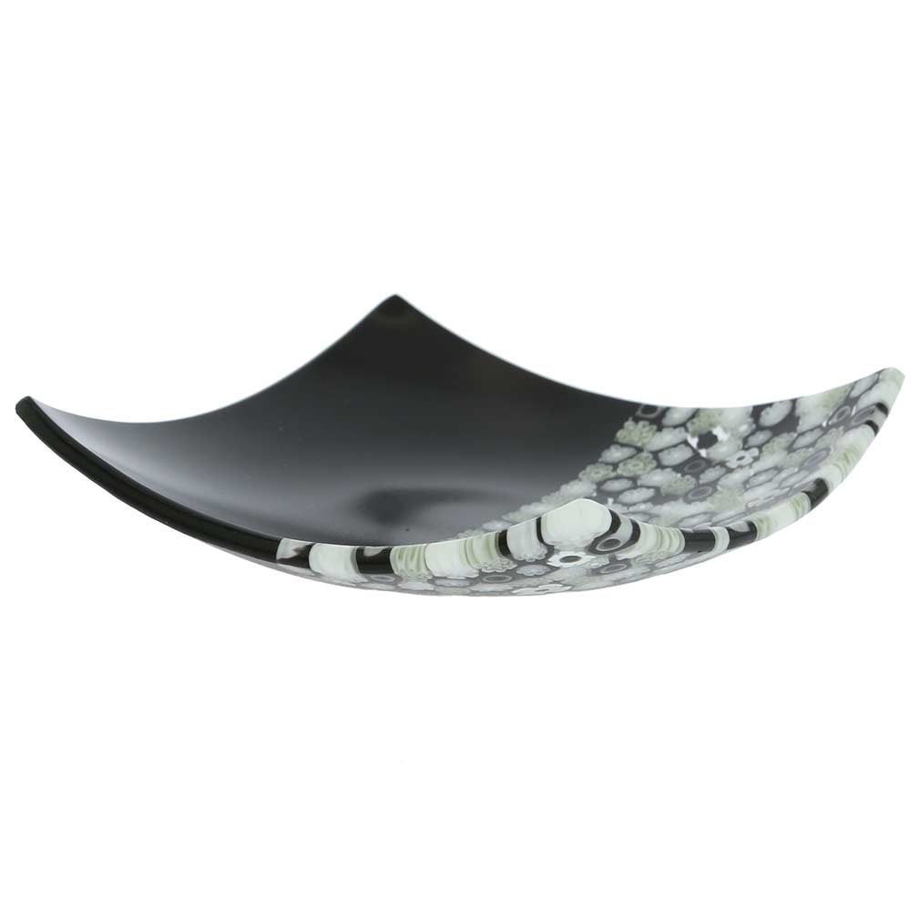 Murano Millefiori Square Plate - Black and White