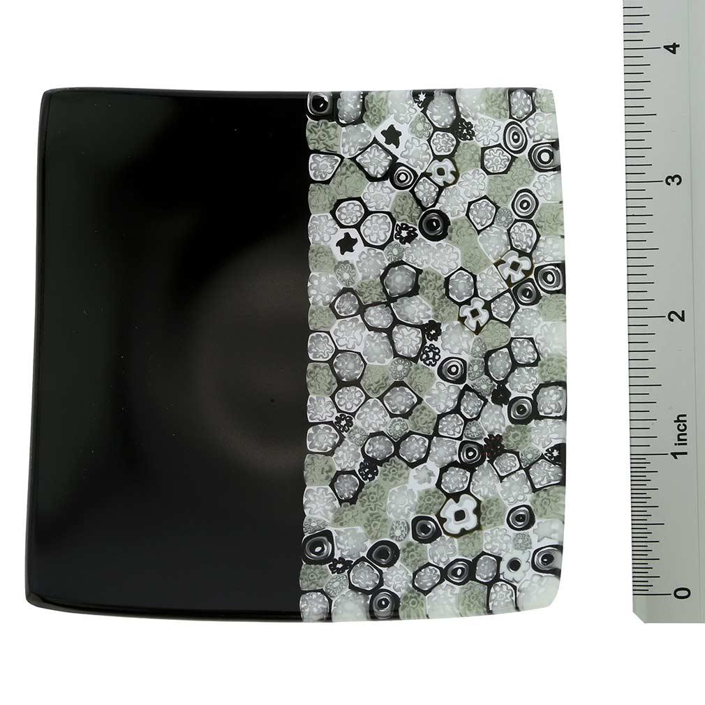 Murano Millefiori Square Plate - Black and White
