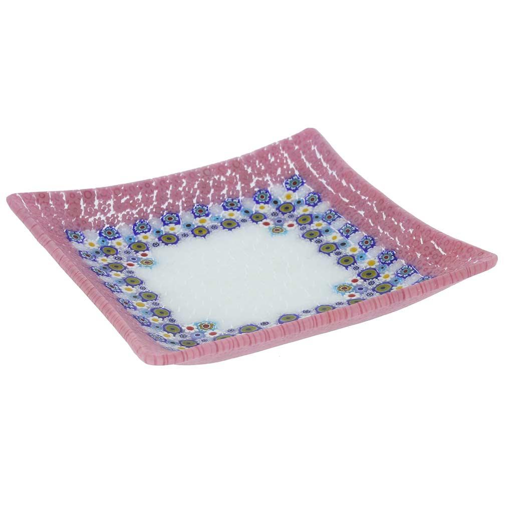 Murano Millefiori Square Plate - Pink