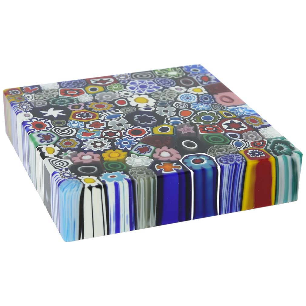 Murano Millefiori Square Paperweight - Large