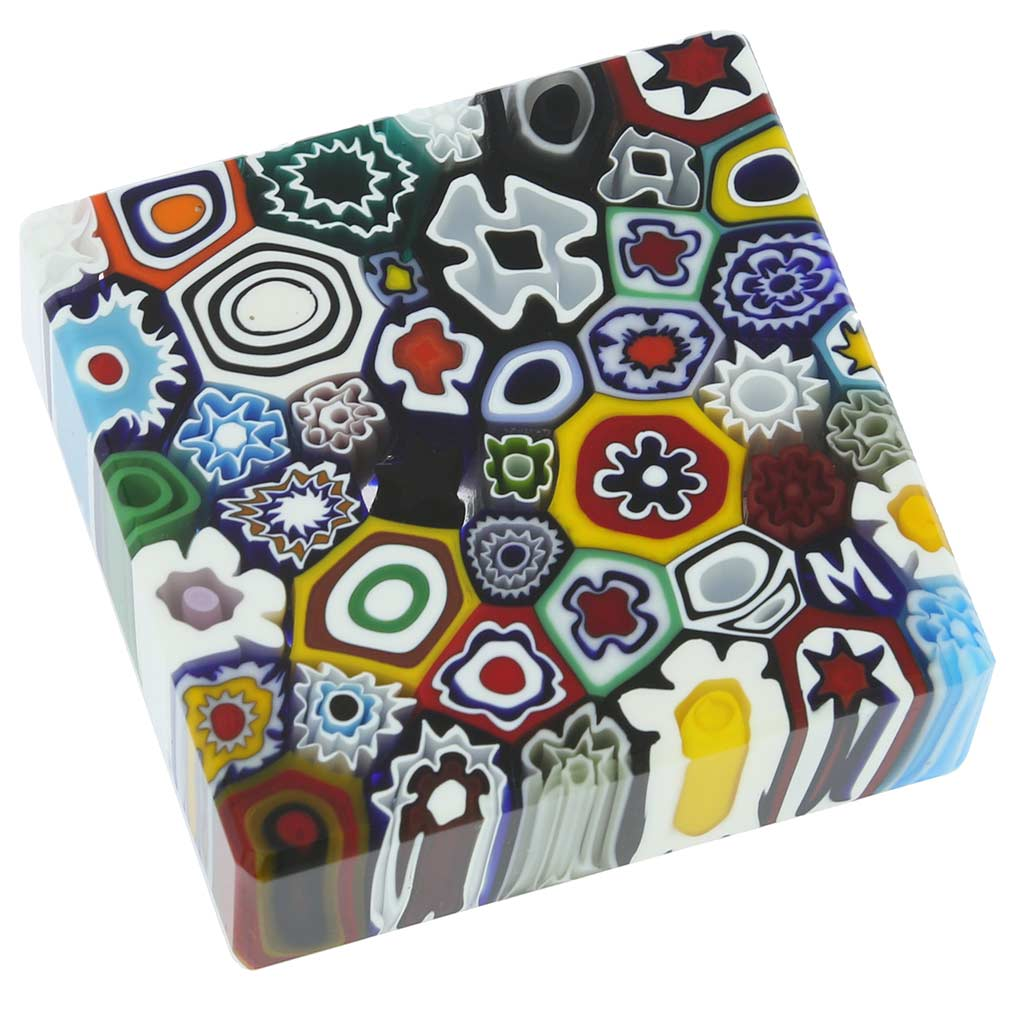 Murano Millefiori Square Paperweight - Medium