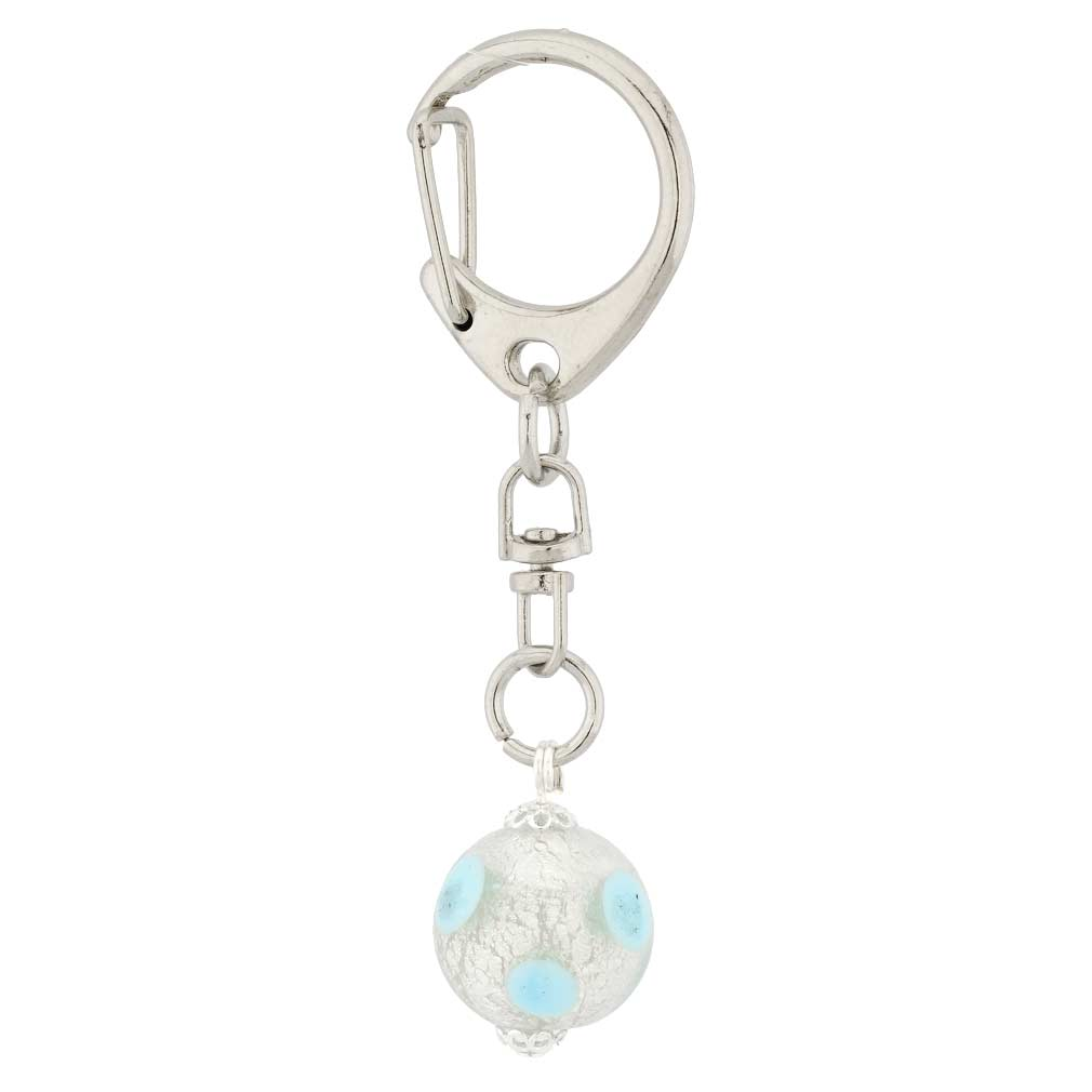 Murano Ball Keychain - Gold Color Swirl