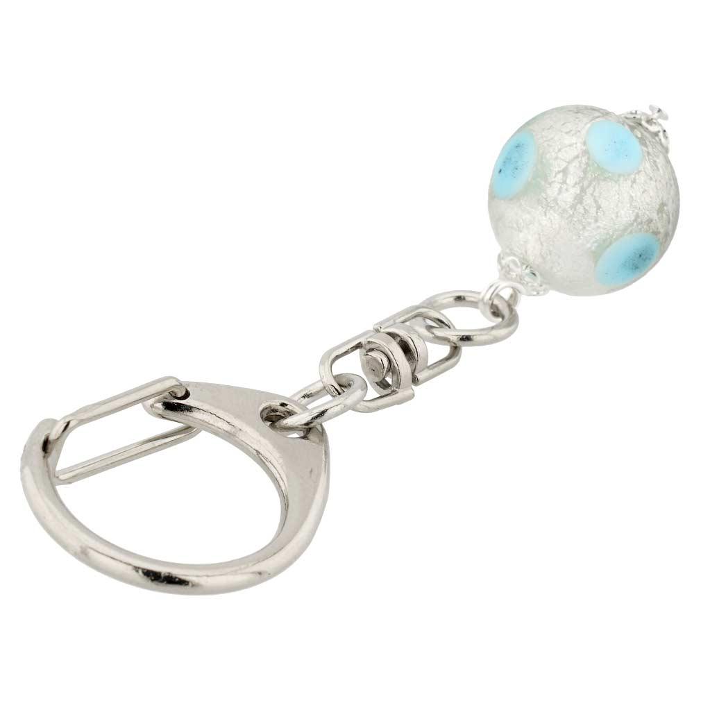 Murano Ball Keychain - Gold Color Swirl