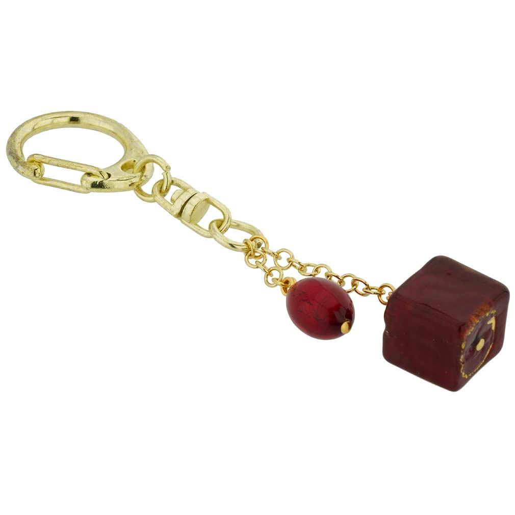 Murano Ball Keychain - Gold Green