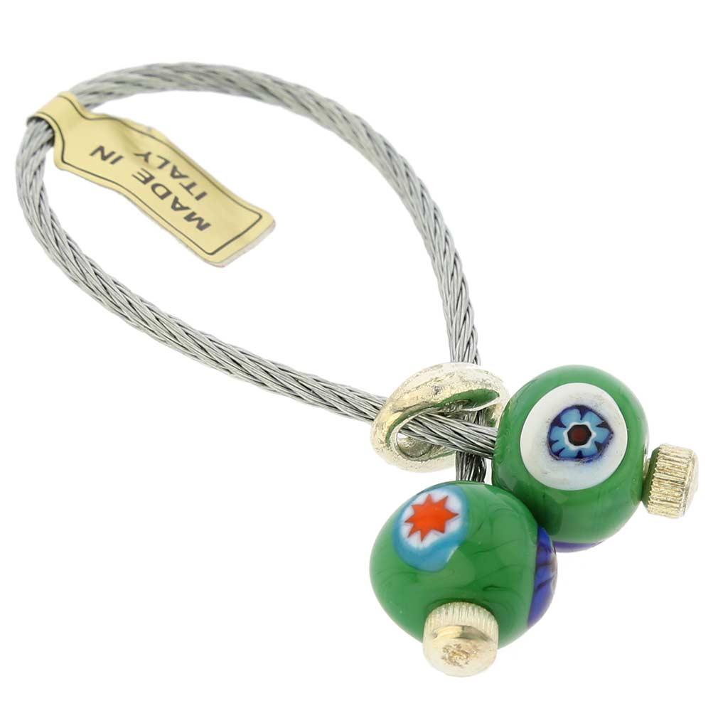 Malachite Mosaic Cable Keychain