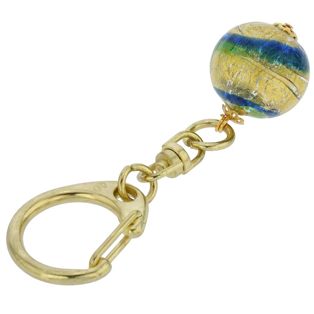 Murano Ball Keychain - Gold Blue Swirl