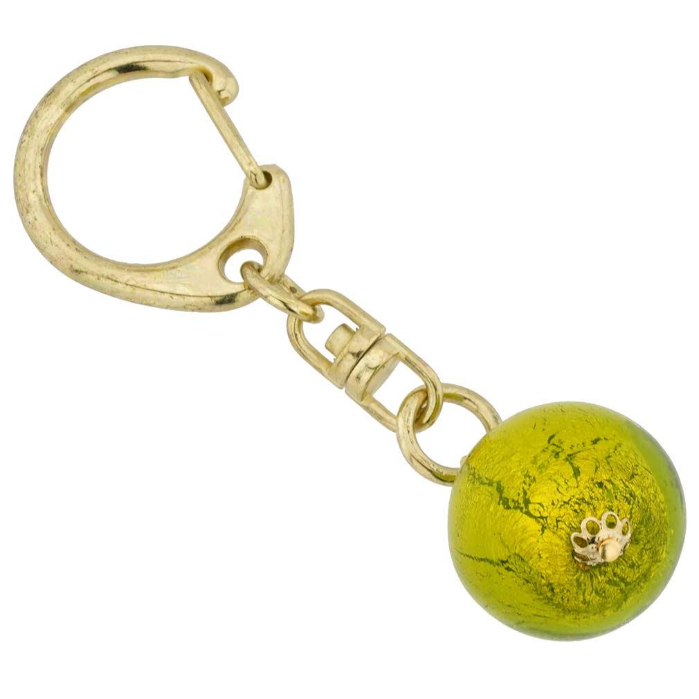 Murano Ball Keychain - Green Marble