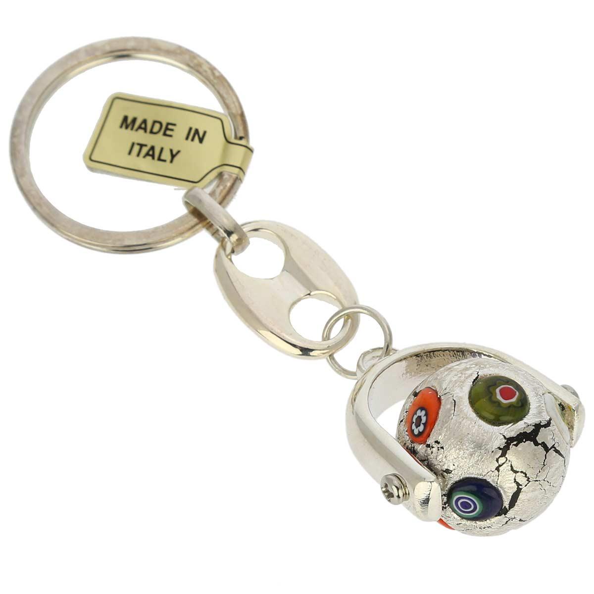 Venetian Mosaic Keychain - silver