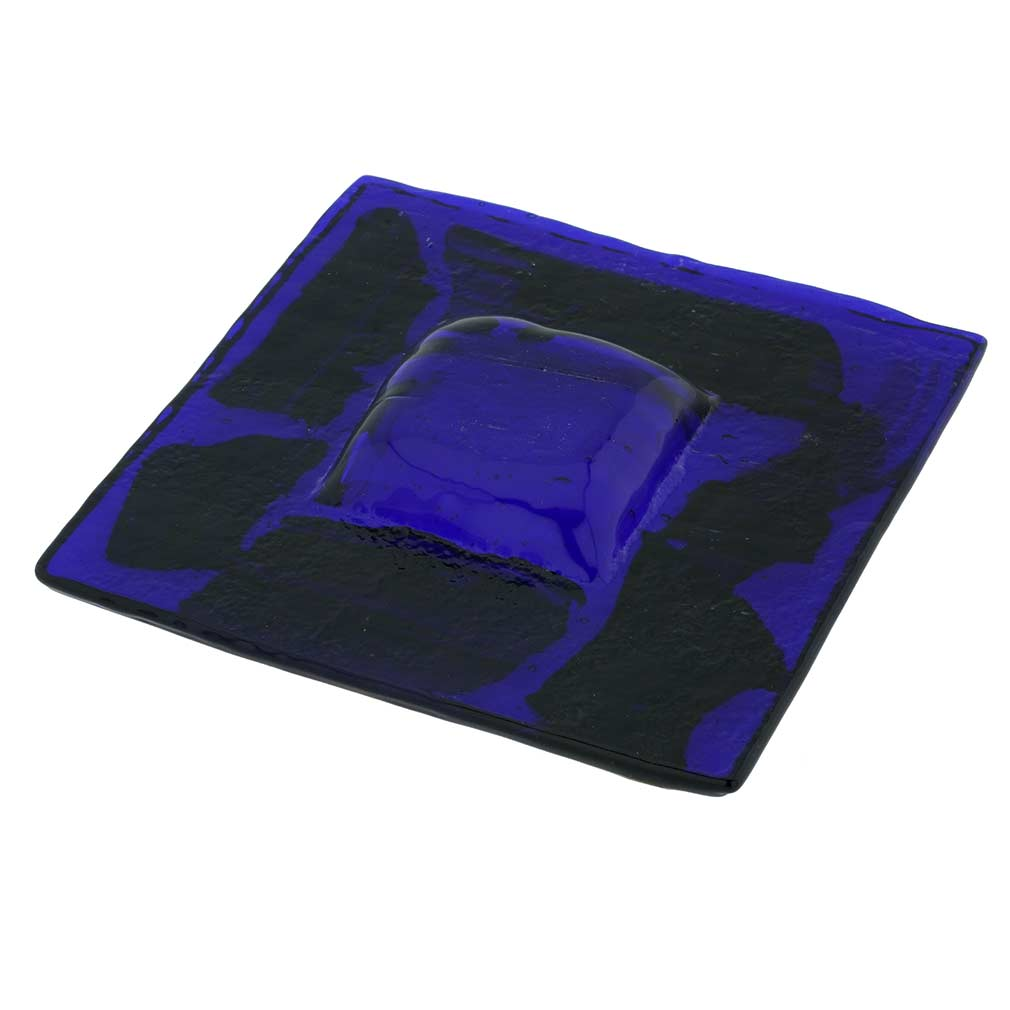 Murano Glass Square Decorative Plate - Black