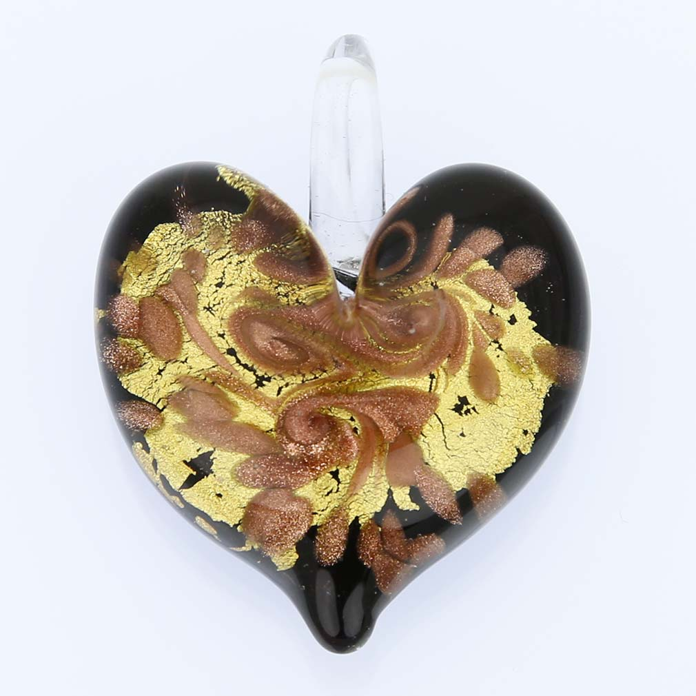 Tender Heart Pendant - Gold Swirl