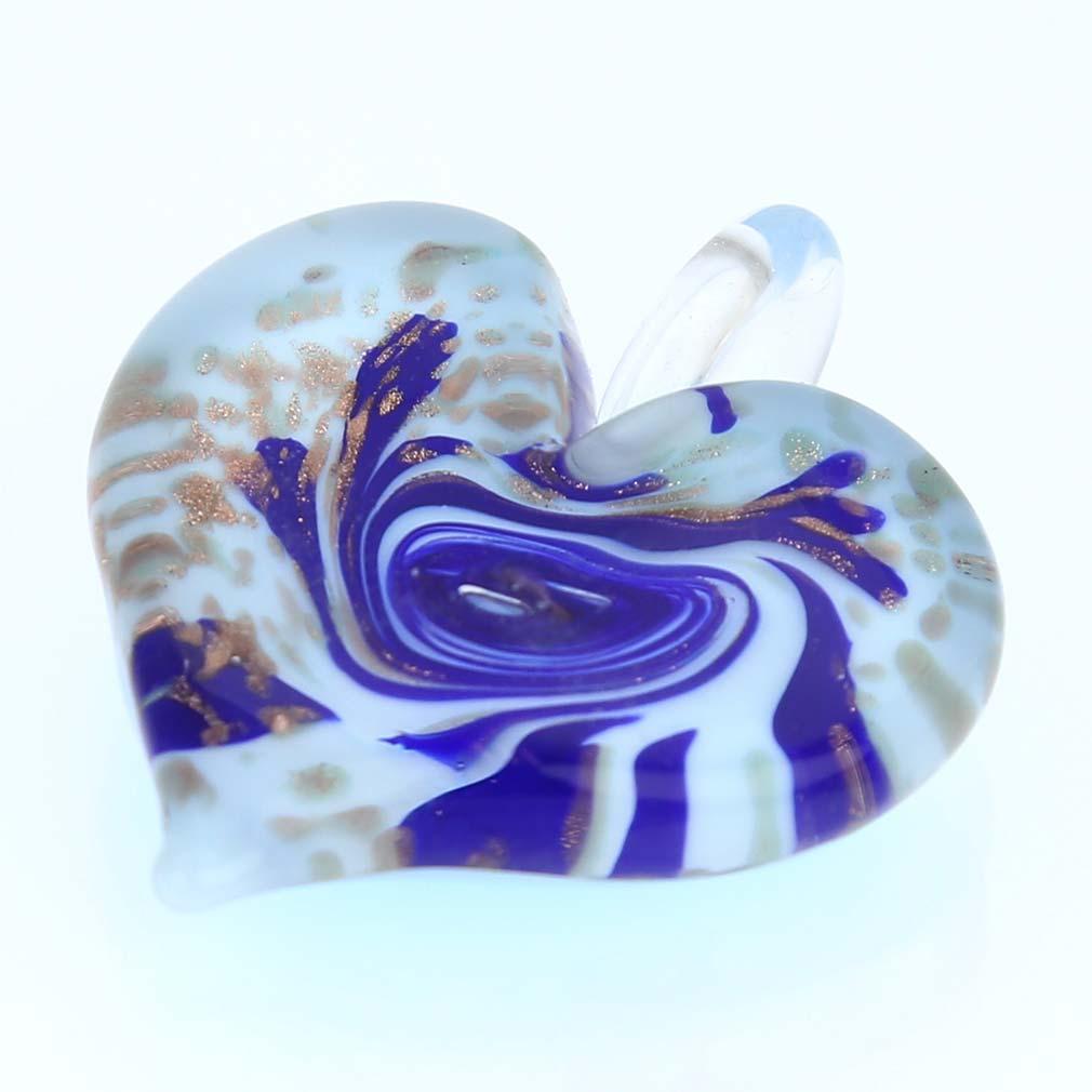 Tender Heart pendant - Sky Blue Swirl