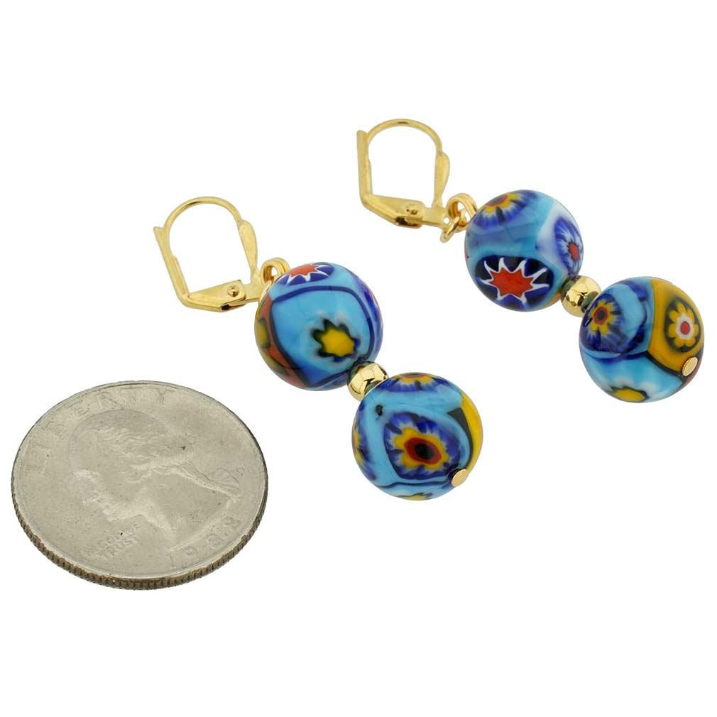 Murano Mosaic Millefiori Festive Balls Earrings - Gold