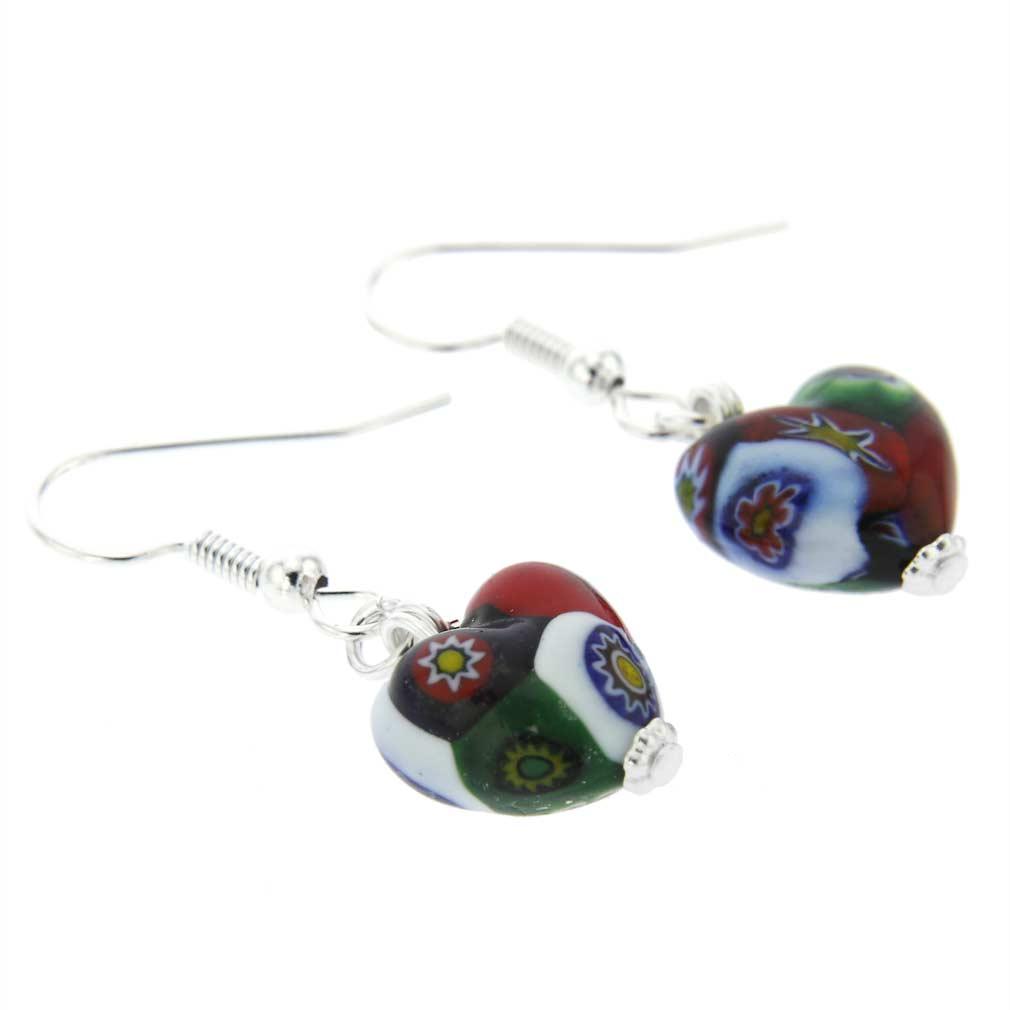 Murano Mosaic Millefiori Heart Earrings - Silver
