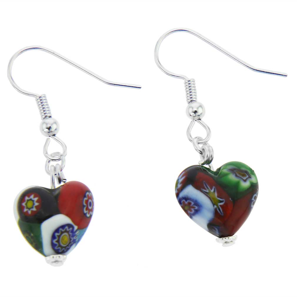 Murano Mosaic Millefiori Heart Earrings - Silver