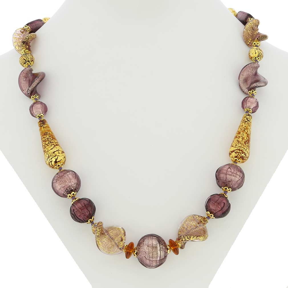 Necklace Murano Splendor - Purple and Gold