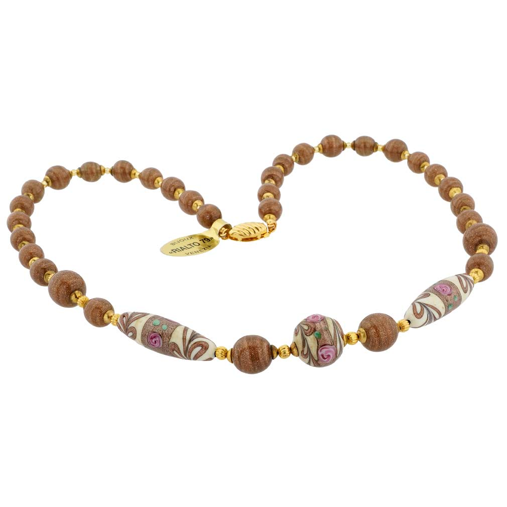 Antique Venetian Beads Murano Glass Necklace - Amber Brown