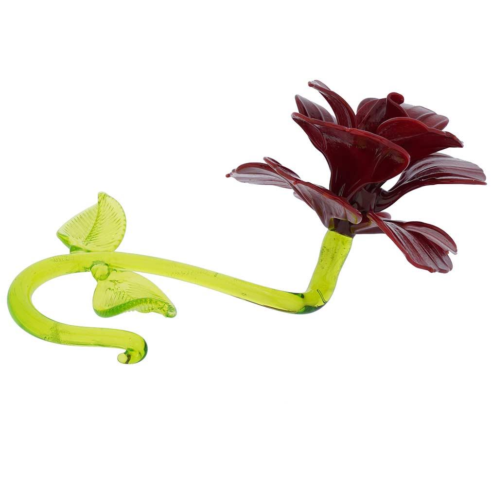 Murano Glass Red Flower