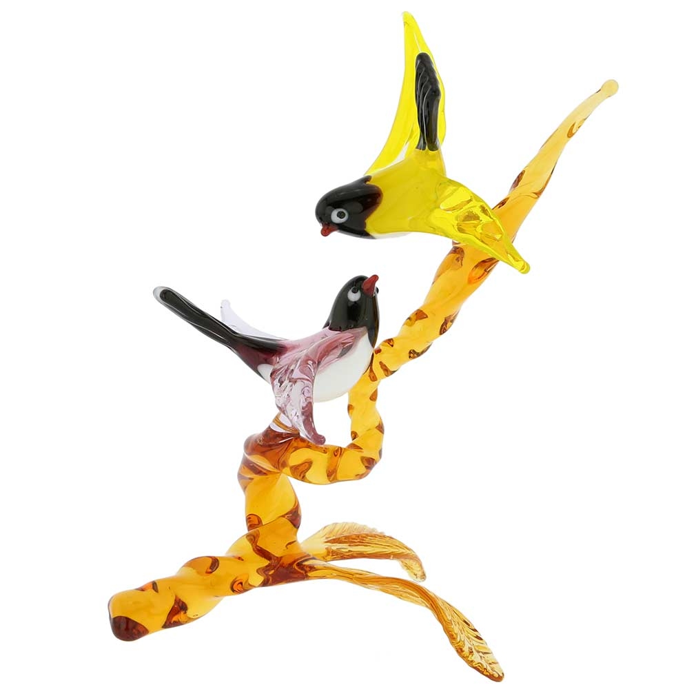 Murano Glass Birds On Golden Brown Branch - Purple and Yellow