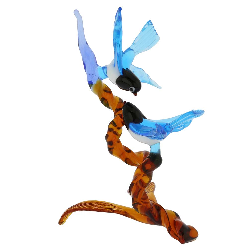 Murano Glass Birds on Amber Branch - Blue
