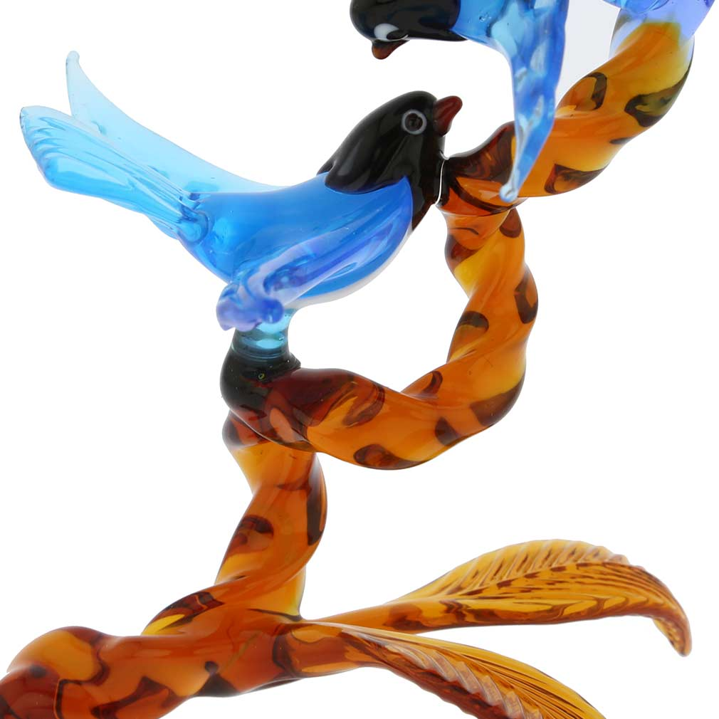 Murano Glass Birds On Golden Brown Branch - Blue