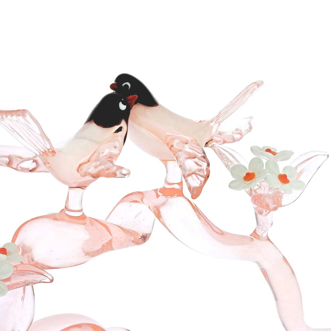 Murano Glass Birds On A Cherry Branch - Tender Rose Pink