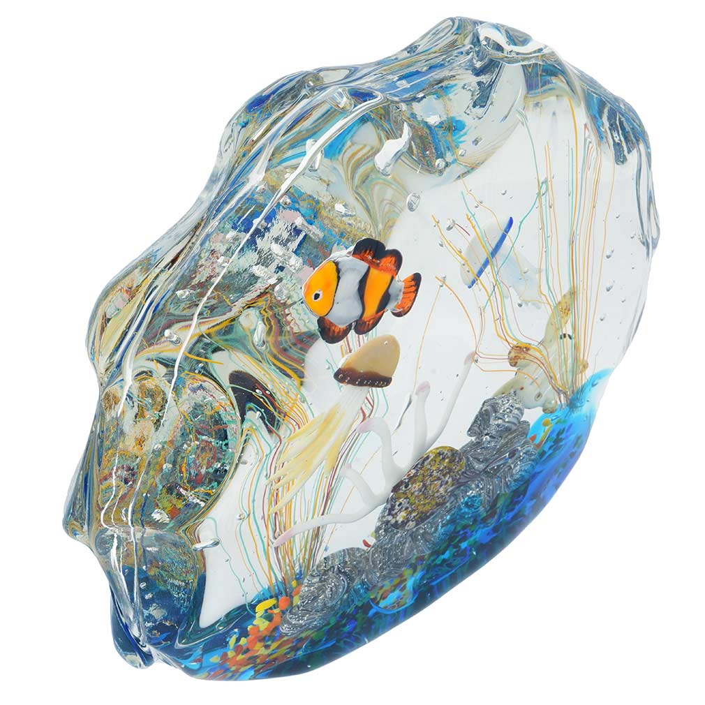 Large Murano Glass Aquarium With Fish And Sea Life