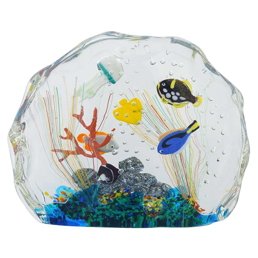 Large Murano Glass Aquarium With Fish And Sea Life