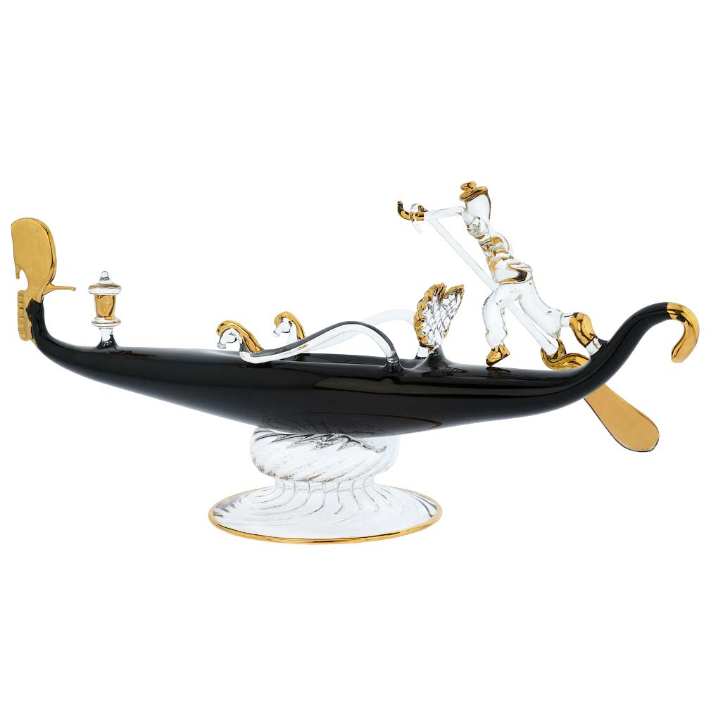 Murano Glass Blown Gondola With Gondolier - Large