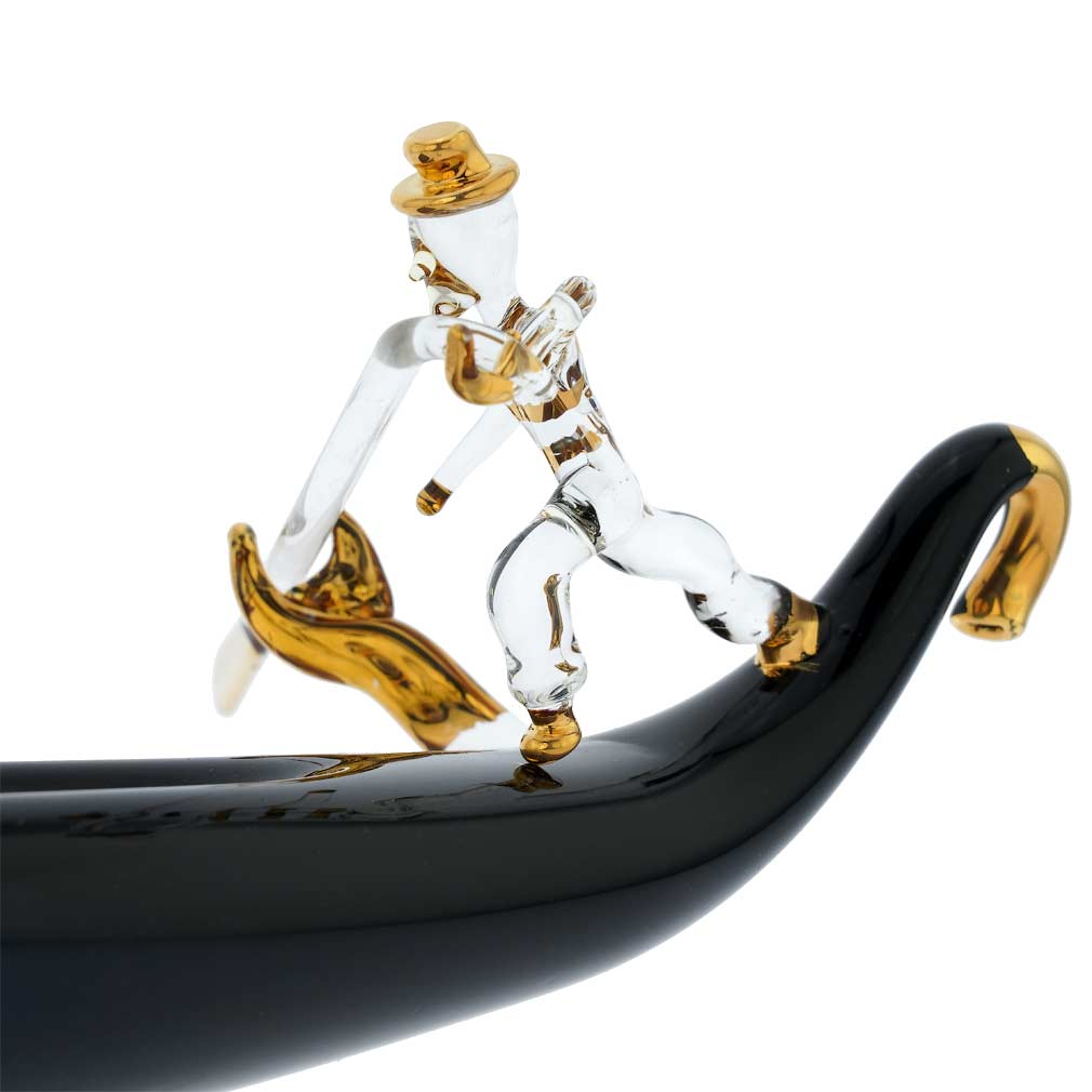 Murano Glass Blown Gondola With Gondolier - Medium