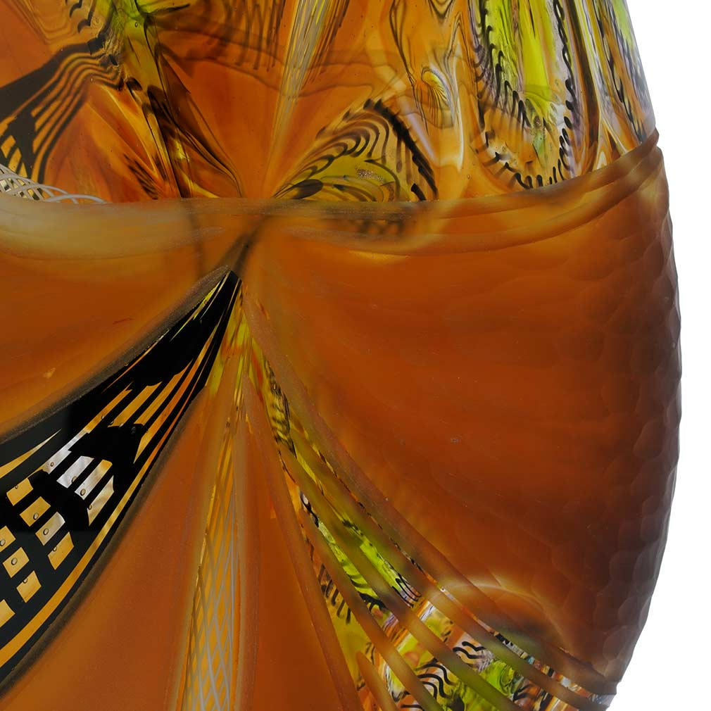 Battuto Murano Glass Vase - Amber Brown