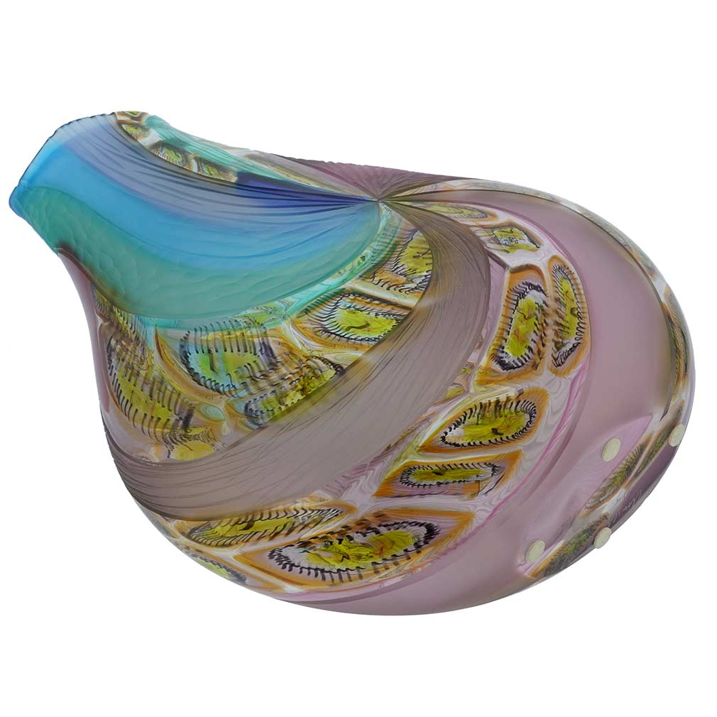 Battuto Murano Glass Vase - Aqua Purple