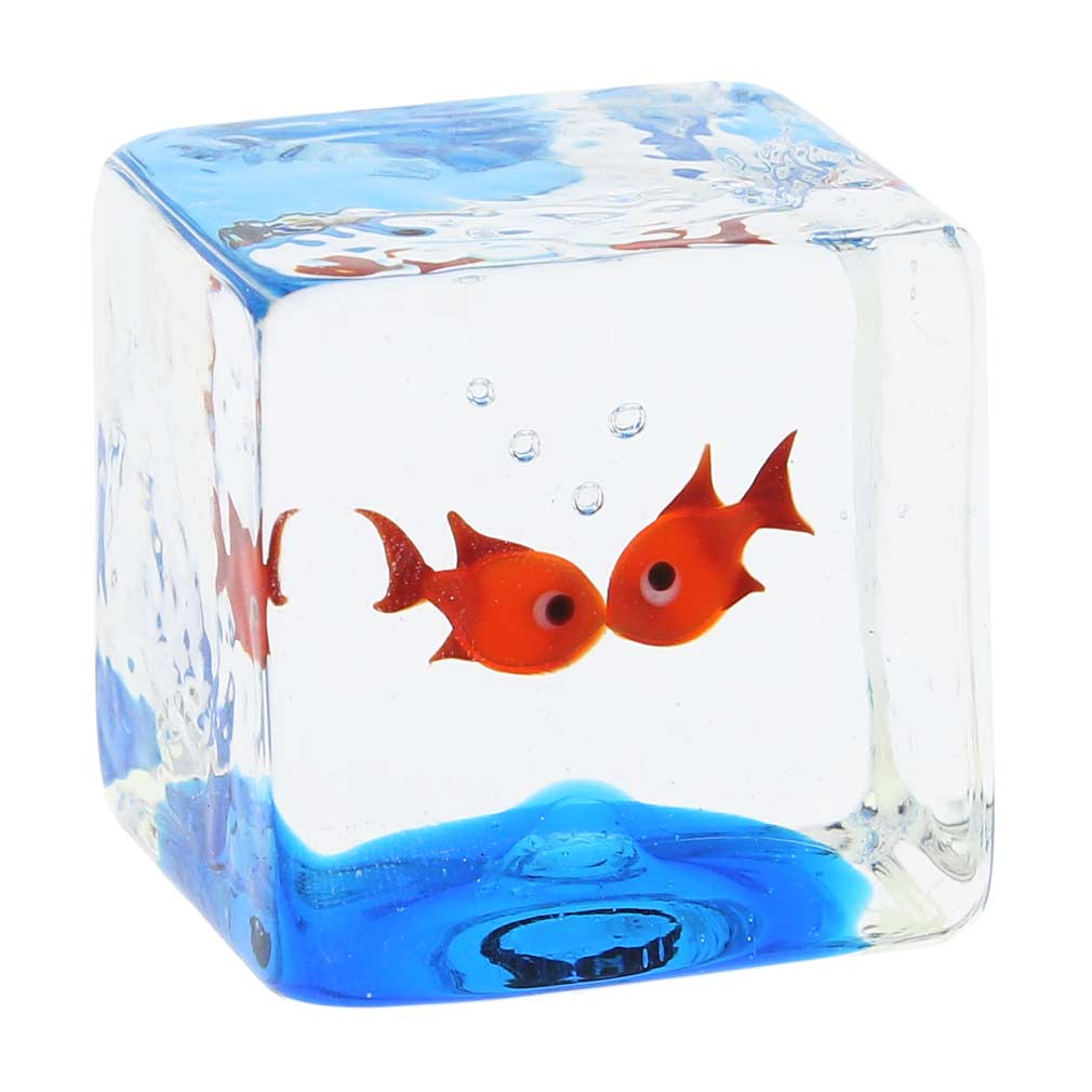 Murano Glass Aquarium Cube With Two Goldfish - 1-1/4 inches