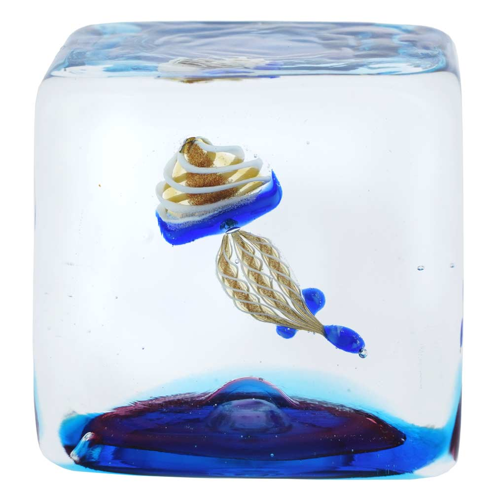 Murano Glass Aquarium Cube With Jellyfish - 1-1/4 inches