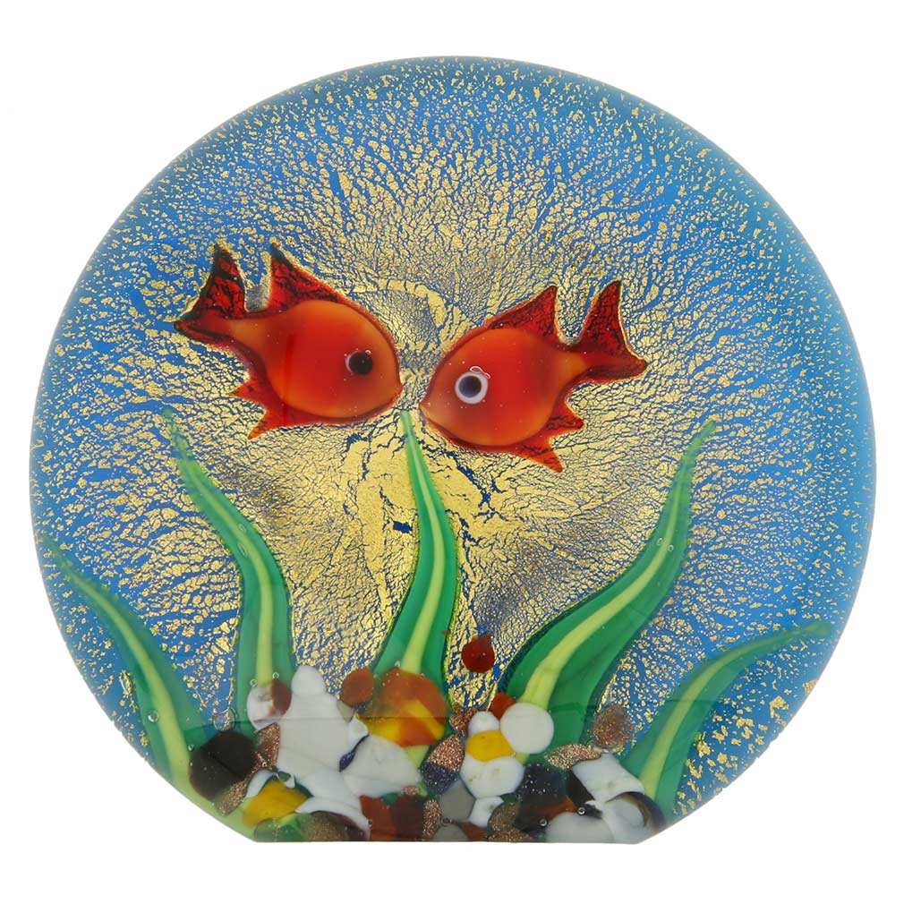 Murano Glass Aquarium With Goldfish and Sun