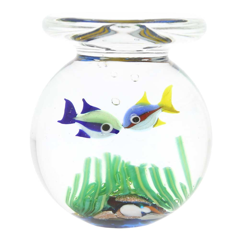 Murano Glass Aquarium Jar With Two Fish - 1-3/4 inch