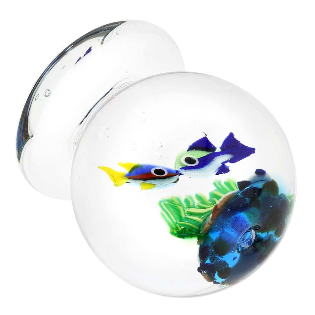 Murano Glass Aquarium Jar With Two Fish - 1-3/4 inch