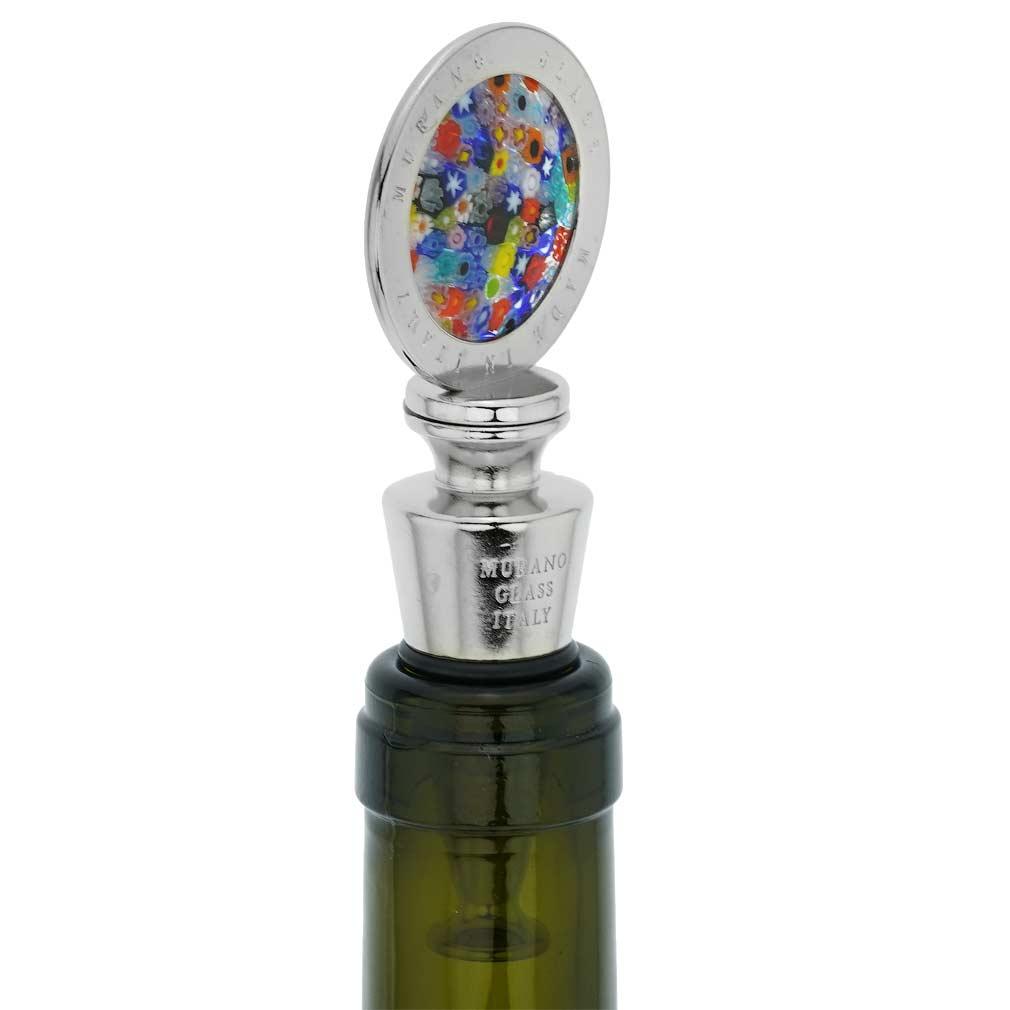 Murano Glass Millefiori Round Bottle Stopper - Multicolor