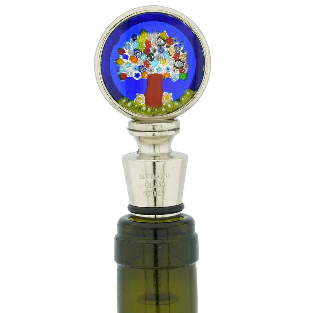 Murano Glass Millefiori Round Bottle Stopper - Tree of Life