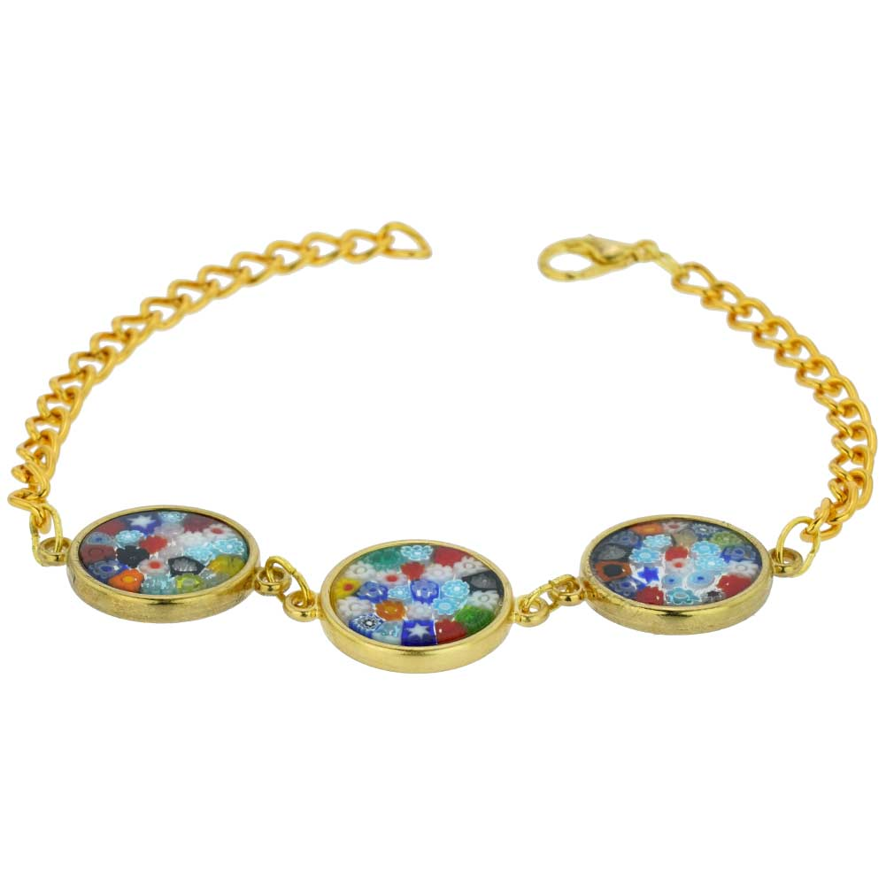 Murano Glass Millefiori Gold Disks Bracelet - Multicolor