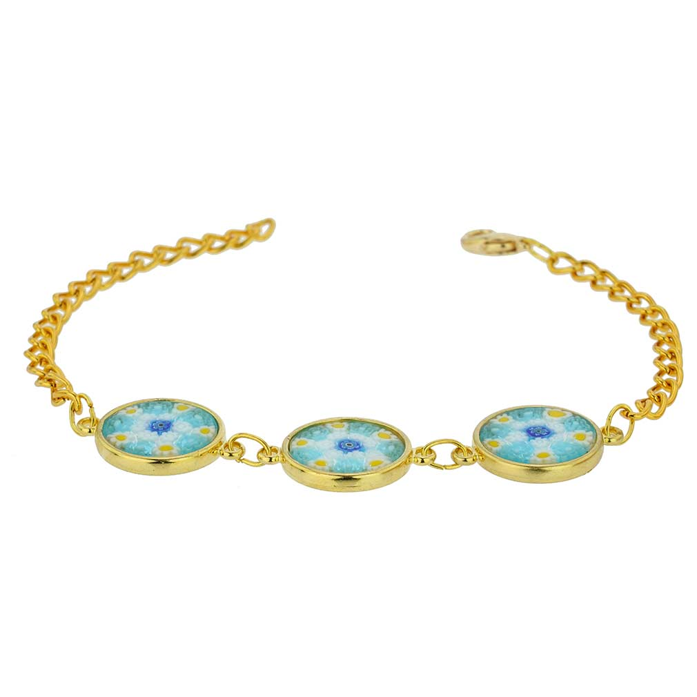 Murano Glass Millefiori Gold Disks Bracelet - Aqua