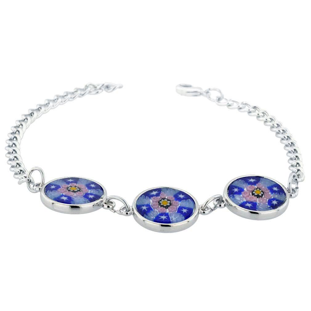 Murano Glass Millefiori Silver Disks Bracelet - Blue