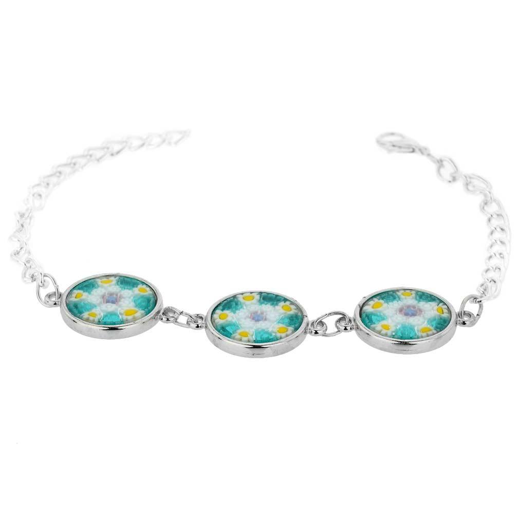 Murano Glass Millefiori Silver Disks Bracelet - Aqua