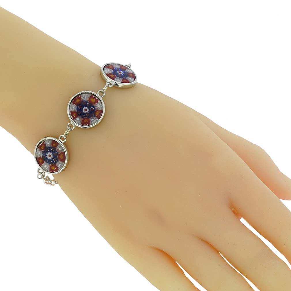 Murano Glass Millefiori Silver Disks Bracelet - Red