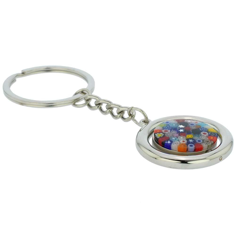 Murano Millefiori Disk Keychain - Multicolor